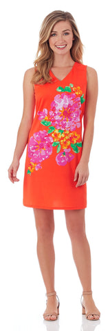 Juliet Shift Dress in Painted Floral Apricot
