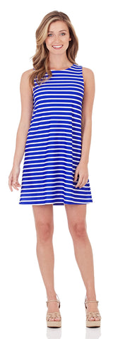 Melody Shift Dress in Classic Stripe Cobalt White