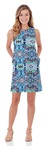 Melody Shift Dress in Mod Mosaic Blue