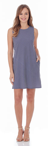 Melody Shift Dress in Nantucket Stripe Navy