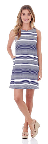 Melody Shift Dress in Nautical Stripe Navy