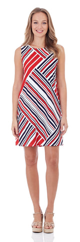 Melody Shift Dress in Patchwork Stripe Red