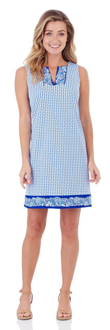 Carissa Shift Dress in Ditsy Border Blue