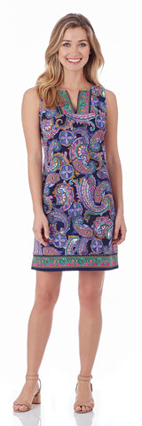 Carissa Shift Dress in Paisley Border Navy