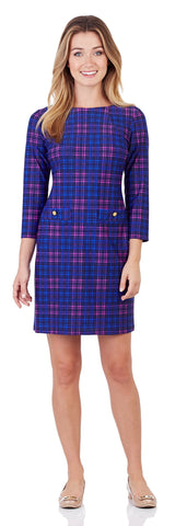 Sabine Shift Dress in Classic Plaid Fuchsia