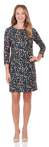 Sabine Shift Dress in Cheetah Spot Black