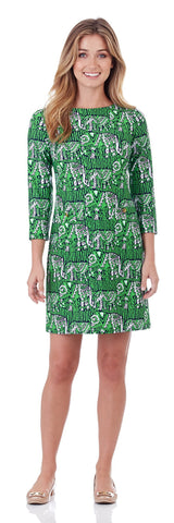 Sabine Shift Dress in Lucky Elephants Green