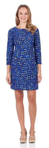 Sabine Shift Dress in Spotted Giraffe Navy