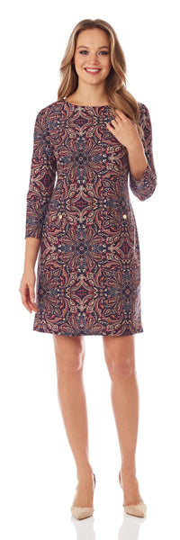 Sabine Shift Dress in Timeless Paisley Black