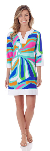 Holly Tunic Dress in Ocean Abstract Aqua