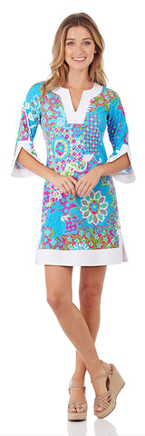 Holly Tunic Dress in Sun Drenched Tiles Turq