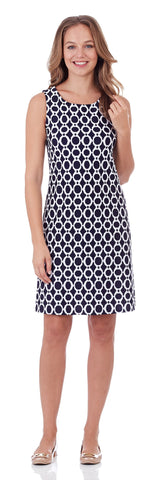 Beth Shift Dress in Circle Ikat Navy