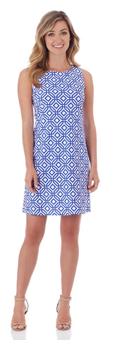 Beth Shift Dress in Grand Links White Sapphire