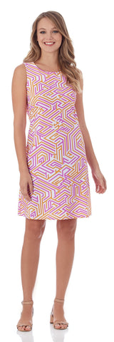 Beth Shift Dress in Geo Maze Peach