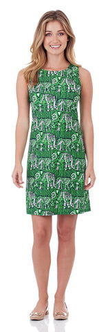 Beth Shift Dress in Lucky Elephants Green