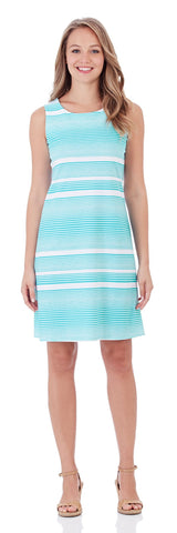 Beth Shift Dress in Nautical Stripe Soft Aqua