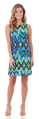 Beth Shift Dress in Ocean Waves Blue
