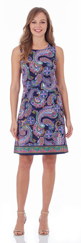 Beth Shift Dress in Paisley Border Navy - FINAL SALE