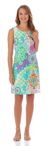 Beth Shift Dress in Sun Drenched Tile Aqua