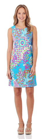 Beth Shift Dress in Sun Drenched Tiles Turq