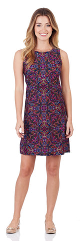 Beth Shift Dress in Timeless Paisley Navy