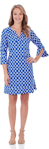 Megan Tunic Dress in Circle Ikat Blue