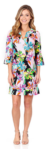 Megan Tunic Dress in Fresh Floral Black