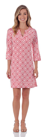 Megan Tunic Dress in Grand Links White Red