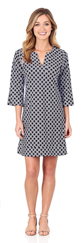 Megan Tunic Dress in Linked Lattice Black