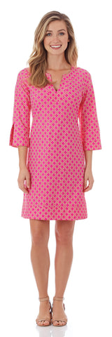 Megan Tunic Dress in Linked Lattice Pink - FINAL SALE