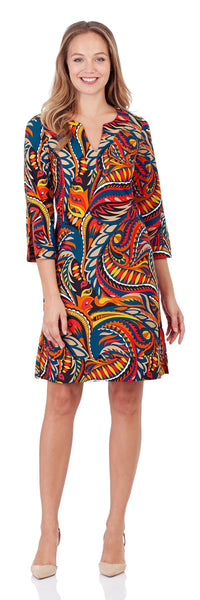 Megan Tunic Dress in Sundance Paisley Red - FINAL SALE
