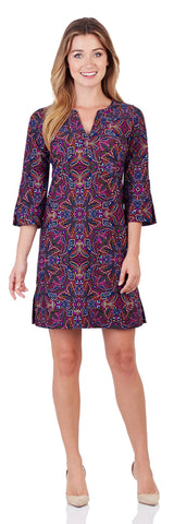 Megan Tunic Dress in Timeless Paisley Navy - FINAL SALE