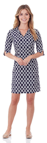 Michelle Dress in Circle Ikat Navy