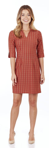 Michelle Dress in Crossed Links Red