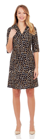 Michelle Dress in Spotted Giraffe Black - Jude Connally - 1
