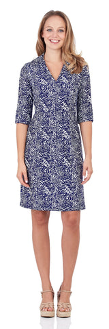 Michelle Dress in Scattered Spot Navy