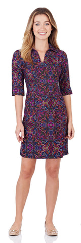 Michelle Dress in Timeless Paisley Navy - FINAL SALE