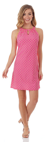 Lisa Keyhole Dress in Linked Lattice Pink