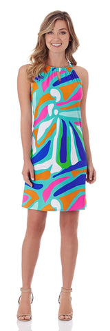 Lisa Keyhole Dress in Ocean Abstract Aqua