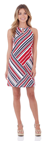 Lisa Keyhole Dress in Patchwork Stripe Red