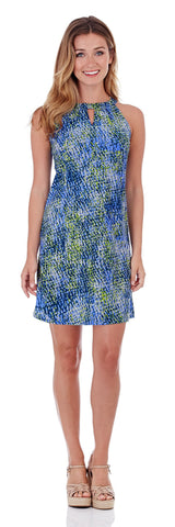 Lisa Keyhole Dress in Painted Snakeskin Soft Blue