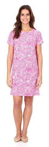 Ella T-Shirt Dress in Hidden Tigers Pink