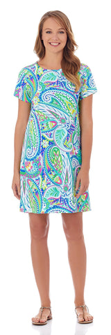 Ella T-Shirt Dress in Jungle Paisley Aqua