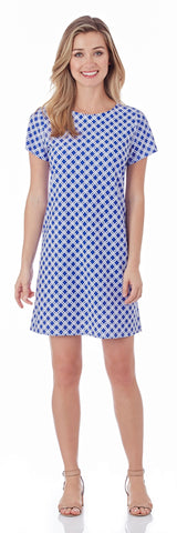 Ella T-Shirt Dress in Linked Lattice Sapphire - FINAL SALE