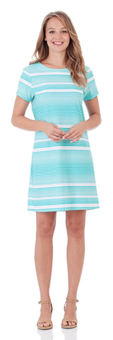 Ella T-Shirt Dress in Nautical Stripe Soft Aqua