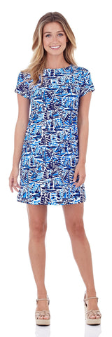 Ella T-Shirt Dress in Ocean Sails Navy