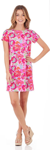 Ella T-Shirt Dress in Wildflower Mini Fuchsia