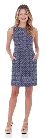 Mary Pat Dress in Batik Medallion Navy