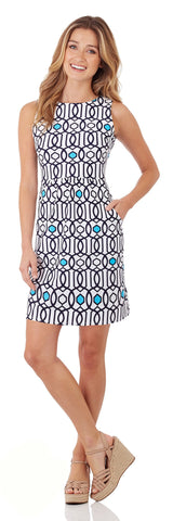 Mary Pat Dress in Garden Gate White Navy