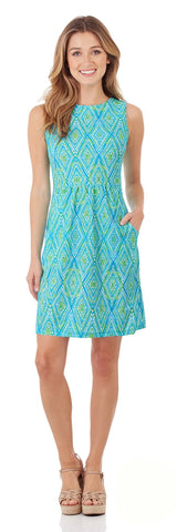 Mary Pat Dress in Painted Diamonds Turq